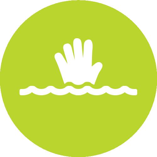 Pictogramme rivière en crue et risque de noyage