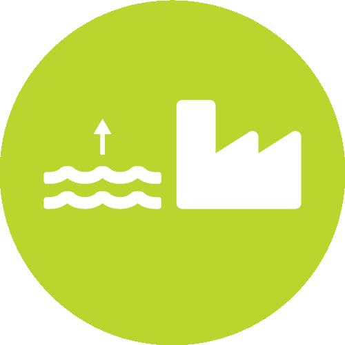 Pictogramme représentant une usine hydroélectrique et le risque de montée des eaux