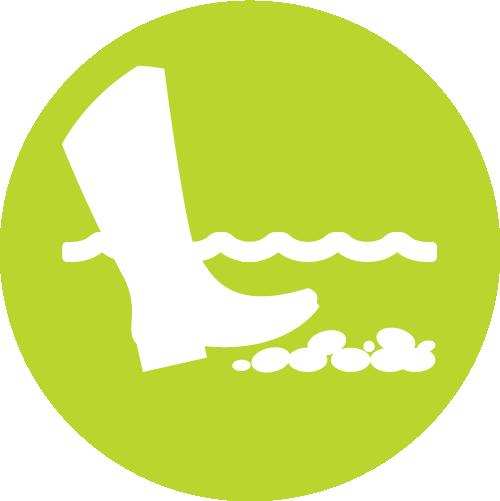 Pictogramme représentant le wading et le risque de destruction de frayères