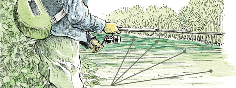 Schéma de lancer pour la pêche de la truite au leurre